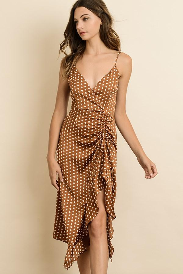 Satin Silky Polka Dot Ruched Midi Dress - Camel